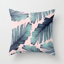 Blush Banana Leaves Dream #9 #tropical #decor #art #society6 Throw Pillow