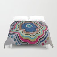 evil eye Duvet Covers featuring Evil Eye - hand by Layal Chemaitelly