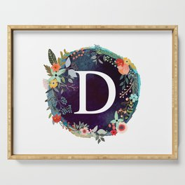 Personalized Monogram Initial Letter D Floral Wreath Artwork Serving Tray