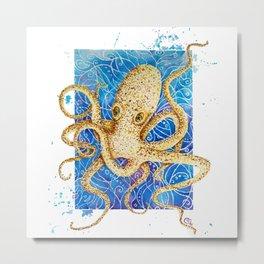 La pieuvre - Contemporary Watercolor Octopus Painting Metal Print