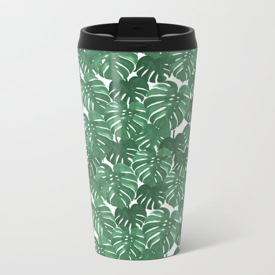Monstera house plant leaf green painting pattern trendy hipster indoor house plant tropical garden   Metal Travel Mug