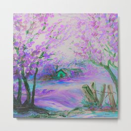 Pink Abstract Landscape with Trees and Cottage Metal Print