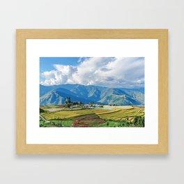 Farm in Bhutan eastern mountains Framed Art Print
