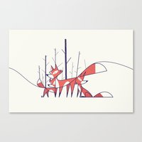 fleet foxes Canvas Prints featuring Foxes by Ale Giorgini