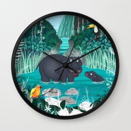 Pygmy Hippos in the Jungle Wall Clock