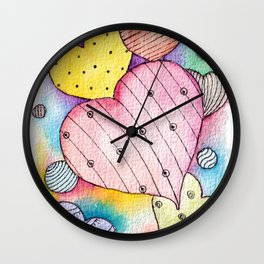 Cute Hearts With Watercolor Washes  Wall Clock