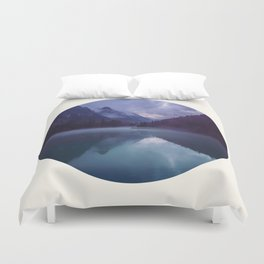 Mid Century Modern Round Circle Photo Reflective Purple And Blue Mountain Silhouette With Lake Duvet Cover