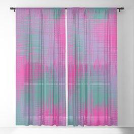 Magenta and Teal Green Sheer Curtain