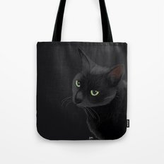 Black cat in the dark Tote Bag