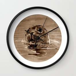 seal - sepia Wall Clock