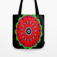 Lovely Healing Mandala  in Brilliant Colors: Black, Maroon, Green, Red, Royal Blue, and Gray Tote Bag