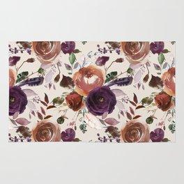 Bohemian orange violet brown watercolor floral pattern Rug