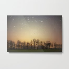 Stars Trails With Trees Metal Print