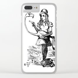 Alice and Flamingo Clear iPhone Case