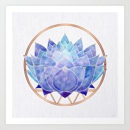 Violet Zen Lotus Art Print