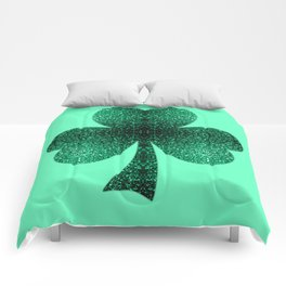 Emerald green shamrock clover sparkles Comforters