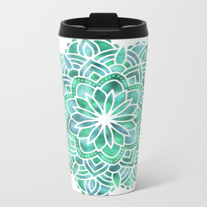 Mandala Southwest Succulent Metal Travel Mug