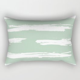 Swipe Stripe White on Pastel Cactus Green Rectangular Pillow