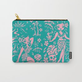 Tiki Temptress in Pink and Turquoise Carry-All Pouch
