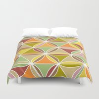 quilt Duvet Covers featuring august quilt by Ariadne