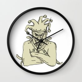 Crazy Court Jester Straitjacket Drawing Wall Clock