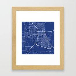 Beaumont Map, USA - Blue Framed Art Print