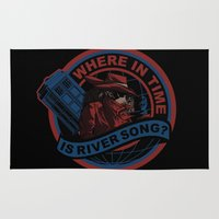 river song Area & Throw Rugs featuring Where In Time Is River Song by Kswaiy