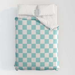 Gingham Pale Turquoise Checked Pattern Comforters
