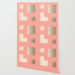 Simply Geometric White Gold Sands on Salmon Pink Wallpaper