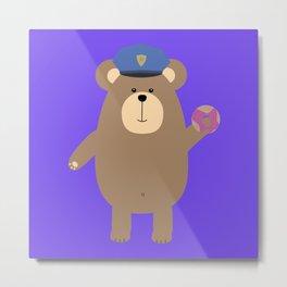 Police Office Brown Bear Metal Print