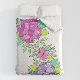 Peonies  Watercolor Comforters