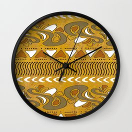 TRIBAL STAMP | gold brown putty Wall Clock