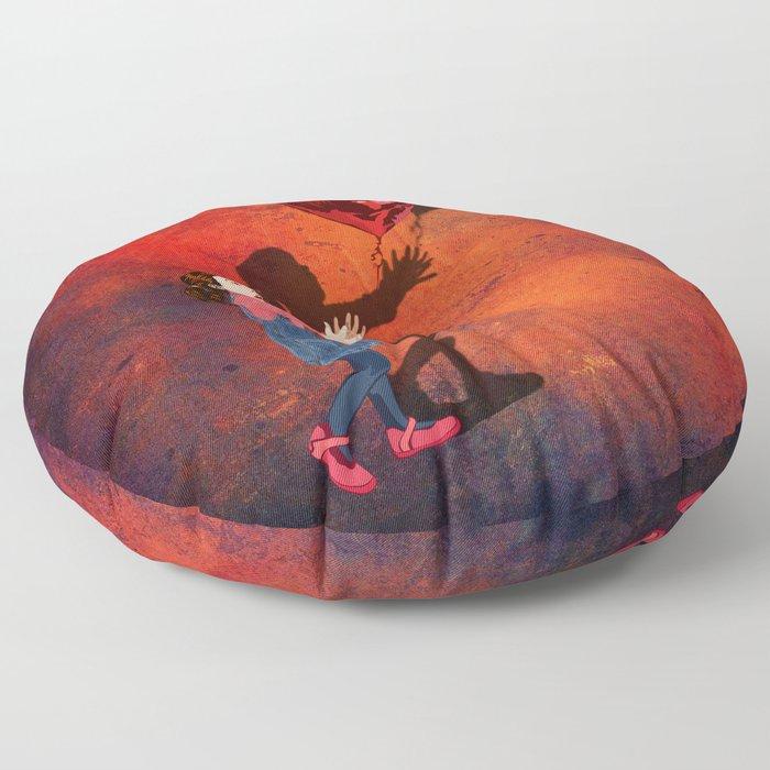 Little girl catch a balloon Floor Pillow