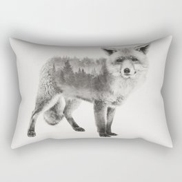 Fox Black and White Double Exposure Rectangular Pillow