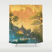 meditation Shower Curtains featuring Meditation  by Michael Jared DiMotta Illustrations