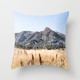 Flatirons Boulder // Colorado Landscape Photograph Yellow Red Field Green Forest Trees Throw Pillow