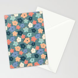 Peach and Aqua Flower Grid Stationery Cards