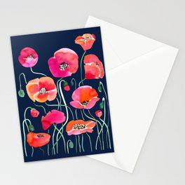 Wild Poppies Dark Stationery Cards