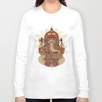 ganesha Long Sleeve T-shirts featuring Ganesha: Lord of Success by Valentina Harper