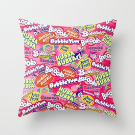 Bubble Gum Explosion Throw Pillow