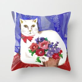 Cozy Cat and Flower Basket Throw Pillow