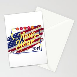 Flag America Happy New Year 2019 Vintage Stationery Cards