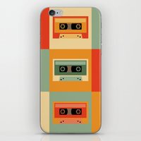 cassette iPhone & iPod Skins featuring cassette by vitamin