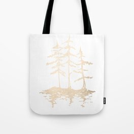 Three Sisters Forest White Gold Trees Tote Bag