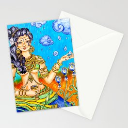 Indian goddess kerala mural style painting Stationery Cards