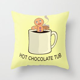 Hot chocolate tub Throw Pillow