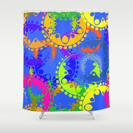 Texture of bright colorful gears and laurel wreaths in kaleidoscope style on a blue background. Shower Curtain