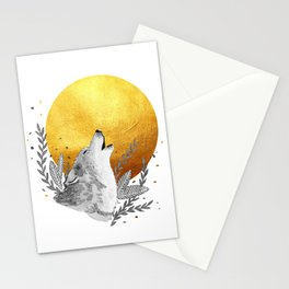 Grey wolf howling to gold moon Stationery Cards