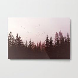 Pinky Sunset Forest Metal Print