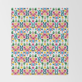 Colorful oriental watercolor floral pattern. Throw Blanket